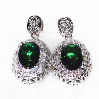 Exquisite Handmade Emerald Noble Stud Earring Platinum Plating Aaa Zircon 88 Stone Grain Big Earrings Fashion Jewelry  Bijoux