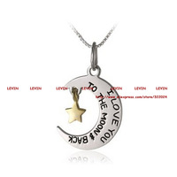 Fashion I Love You To The Moon and Back Silver Star and Moon Pendant Necklace Women Girls Gift Box Statement Necklace Jewelry