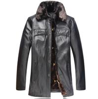 2014 Men'S Winter Coat Turn Down  Fur Collar Plus Velvet Thickening Leather Jacket  Men'S  Brand Leather Coat PU Jackets XG-216