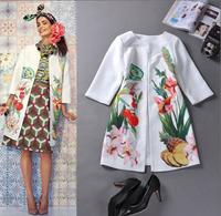 2014 European and American big names fruit autumn new graffiti printing Slim fashion style windbreaker jacket for women