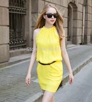 Freeshipping new 2014 summer western hang neck fashionable OL show white sleeveless dress