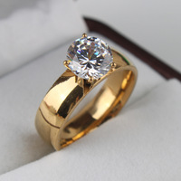 10pcs/lot 6mm Light Zircon CZ 18k gold plated 316L Stainless Steel finger rings men women jewelry free shipping wholesale