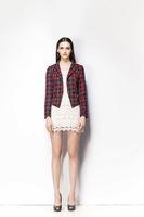 2014 Autumn Branded Ladies Blazer Large Size XL XXL Blaser Feminino Casual Vintage Plaid Shoulder Pads One Button Suit Jacket