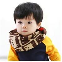 New Lovely Cute Cat Kids Winter Scarf Chirldren Boys Girls O Ring Knitted Scarves Baby Child Neck Warmer Gift  Retail #1063