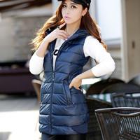 2014 new winter dress vest cotton vest Korean show thin cotton PU soft in the long section of vest