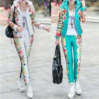 Winter Duck Down Jacket Women Suit 2014 New Spring Autumn Plus Size Floral Printed Slim Casual Parka (Coat+Pants) Set