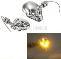 2x Skeleton Skull Shape Universal 10mm Motorcycle Sport Street Bike Cruiser Turn Signals Indicators Blinker Amber Light