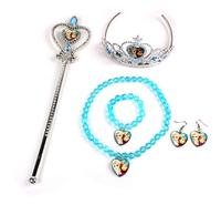 Frozen jewelry Elsa Anna Princess Crown+ magic wand +necklaces +bracelets +earrings set