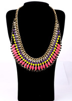 high quality Fashion accessories Jewelry neon color Collar Chains Pendants Necklace Statement Bib Bubble