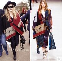 2014 winter european america T fashion show vintage irregular plaid Poncho thick shawl for elegent women patchwork scarf x424