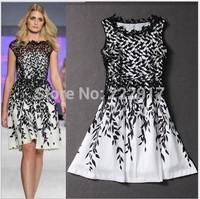 2014 New Fashion Elegant Lace Stitching Leaves Aqueous Printing Temperament Casual Women Summer Dress Vestidos Party Dresses
