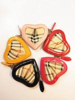 women fashion heart shaped wallet genuine leather match pu chain plaid coin purse mini bag lovely