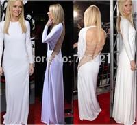 New 2014 Women Casual White Sexy Evening Maxi Bodycon Bandage Dress Ladies O-neck Long Dresses Open Back Vestidos De Festa