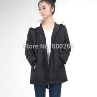 2014 New Women Long Sleeve Thicken Fleece Hooded Parka Zipper Overcoat Winter Coat Jacket Plus Size  M L XL XXL Free Shipping