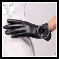 Ms high-grade leather rabbit fur gloves import sheepskin leather Fashion lady autumn winter gloves