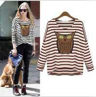 Dropshipping!2014 Europe and America Autumn stripe base shirt printing long sleeve blouse  T shirt