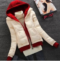 new year 2014 winter women fashion knitted hooded double zipper short down & parkas coat lady thick warm casual jacket overcoat