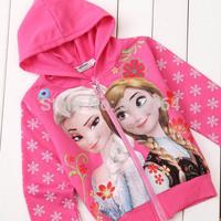 Frozen Anna'and Elsa's Long Sleeve Children Hoodies for Girls clothes Wear zipper  Cartoon Hoodies jacket coats BOS.F5