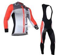 Free Shipping!Men's CASTELLI jersey wear long Sleeve cycling top Jersey+bibs pants