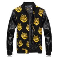 Water jackets Fashion mens coats Leather sleeve splice Tiger head print Baseball shirt Drop shipping New 2014 Autumn