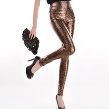 New 2015 Leopard Print Leggings Women Metallic Punk High Waist Leggings Leather Look Stretchy Pants KZ-016(China (Mainland))