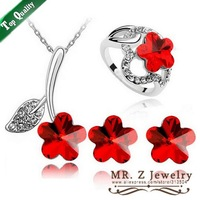 Wholesale Crystal Flower Necklace Earrings Ring (Size 6) Red Jewelry Sets Free Shipping