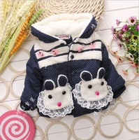 2014 new winter children Korean girls double rabbit child cotton padded clothes pocket