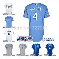 2014 New ! Cheap Stitched Men's Kansas City Royals Jersey #35 Eric Hosmer #4 Alex Gordon #6 Cain With 2014 World Series Patch