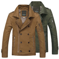 Alpha 2014 Winter Mens Fashion Jacket Double Breasted Zipper Pocket Quality Washed Pure Cotton Casual Jacket  Coat  M--3XL