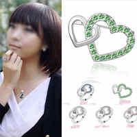 New Alloy Rhinestone Crystal Shining Double Love Heart  Finger Ring Loop