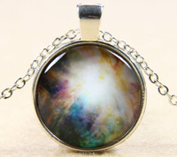 Colorful Galaxy Cosmic Glass Cabochon Silver Plated Pendant Handmade Glass Dome Necklace Jewelry For Men Women