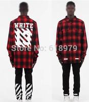 2014 Pyrex off white virgil abloh13 stripe print shirt plaid shirt for men and women tartan flannel shirts swag hip hop hba