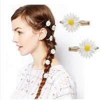 Orange/Green/White Fashion Refined colorful chrysanthemum flower side hair pin graceful mum hair clips Acc