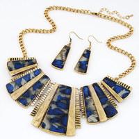 [Min order US$15]Fashion Vintage Silver Metal Chunky Chain fan-shaped leopard Geometry Choker Bib Necklace Earring set Jewelry
