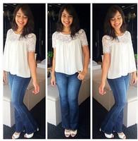 Hot New Blusas Femininas 2014 Women Blouse Ladies New Fashion Casual Lace Shirt Free Shipping