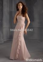 Fashion 2015 Mermaid Trumpet Sweetheart Neck Sleeveless Fold Ruffle Floor Length Chiffon Bridesmaid Dresses