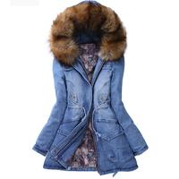 1029 New 2014 Winter Women's Denim Thick Wadded Jacket Fashion Keep Warm Fur Hooded Long Parka Winter Snow Wear Outerwear Coats