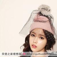 Hot,(8 Colors) Women Spring fashion removable rabbit fur ball retro wave point gauze veil knit wool hat Beanies,F304
