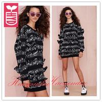 Drop ship!New 2014 brand autumn Black Printing musical notation Long sweatshirts womens bowknot loose Hoodies clothing