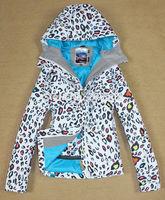 2014 Gsou Snow womens leopard ski jacket white snowboarding jacket ladies waterproof 10K snow parka skiwear free shipping by EMS