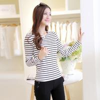 blusa listrada t shirt women long sleeve white tee shirts tops V-neck Slim plus size cotton blouses