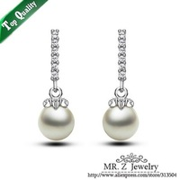 Good Quality Luxury Dress Accessories Pearl Christmas Earrings Zircon Jewelry Free Shipping