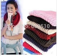 2014 Fashion  hot Women scarf  Warm Knit Neck Circle Wool Blend Cowl Snood Long Scarf Shawl Wrap(sc0012)