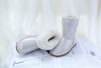 New 2014 women shoes genuine Leather mid-calf pearl style boots winter women boots snow boots 5 colors plus size 35-44