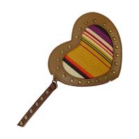 women fashion handbags genuine leather match canvas wallet special heart-shaped stripe mini bags