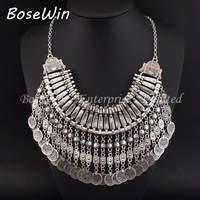 2014 Fashion Famous Brand Craving Flower Coin Long Pendant Antique Silver Statement Handmade Vintage Necklaces Boho CE2568