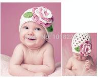 2014 new baby beanies & skullies Warm White Knitted Baby Kids Toddlers Girls Crochet Flower Warm Beanie Hat Cap for babies gift