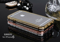 20pcs, For 5.5 iPhone 6 plus Diamond Bumper Frame Cases Fashion Crystal Cover Luxury Rhinestone Bling case For 5.5  iphone 6