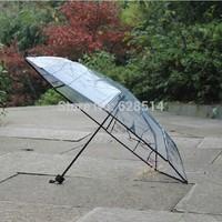 Free Shipping New 2014 Novelty Eiffel foldingTransparent Umbrella Folding Umbrella Rain Women 2 Color