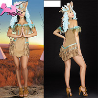 cosplay (headwear+dress) Sexy Indian christmas costumes Hot Strapless Tassel Dress Fantasia halloween costumes for women XHD023